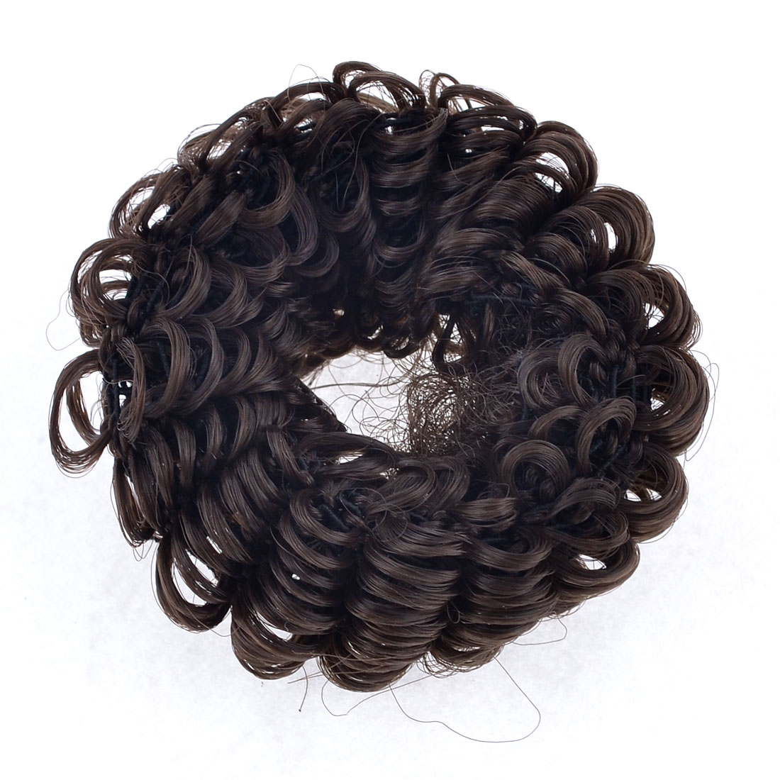 "3"" Width Brown Periwig Bun Hairpieces Elastic Ponytail Holder Ring"
