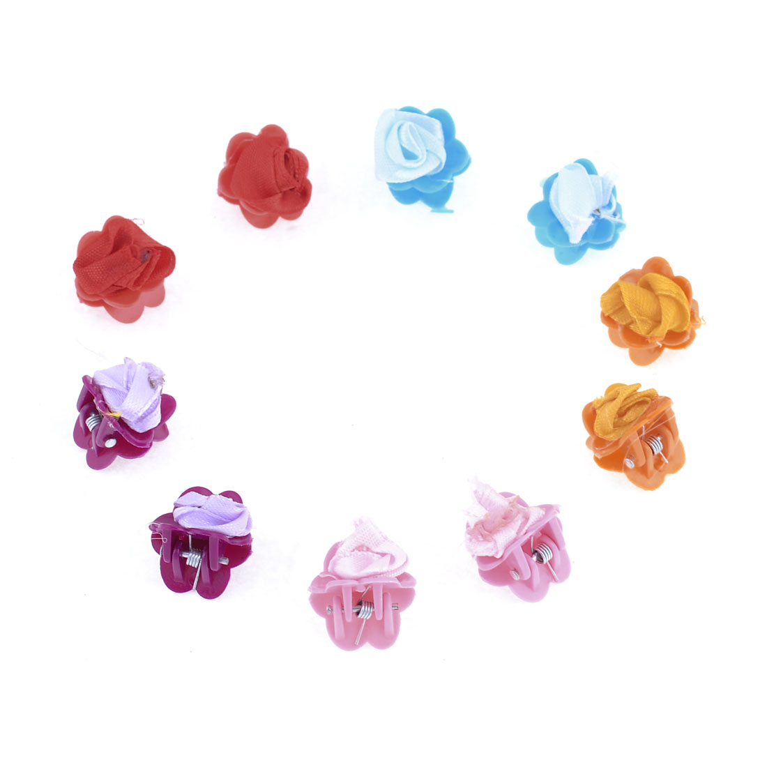 10 Pcs Assorted Color Flower Shape Spring Joint Hair Claw Clip for Girl