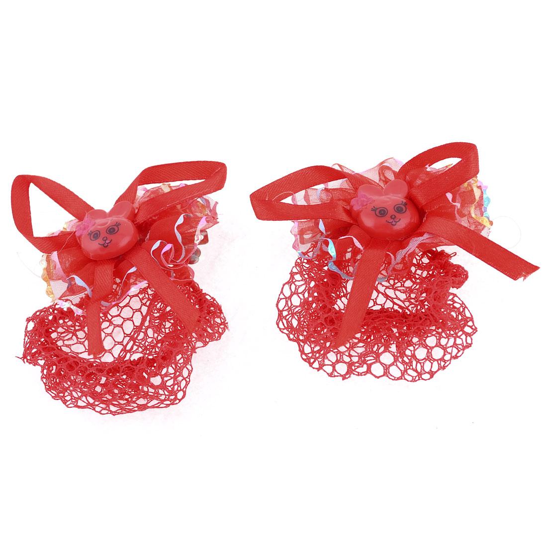 Girl Red Plastic Animal Head Bowtie Decor French Clip Barrette w Hairnet