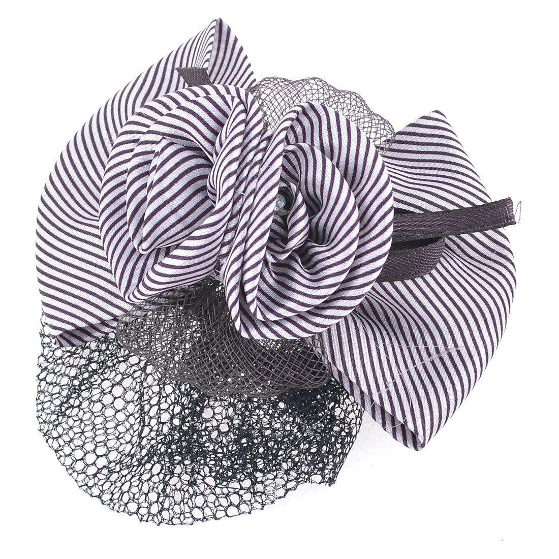 Striped Bowknot Decor Barrette Hair Clip Bun Cover Brown White w Net Snood