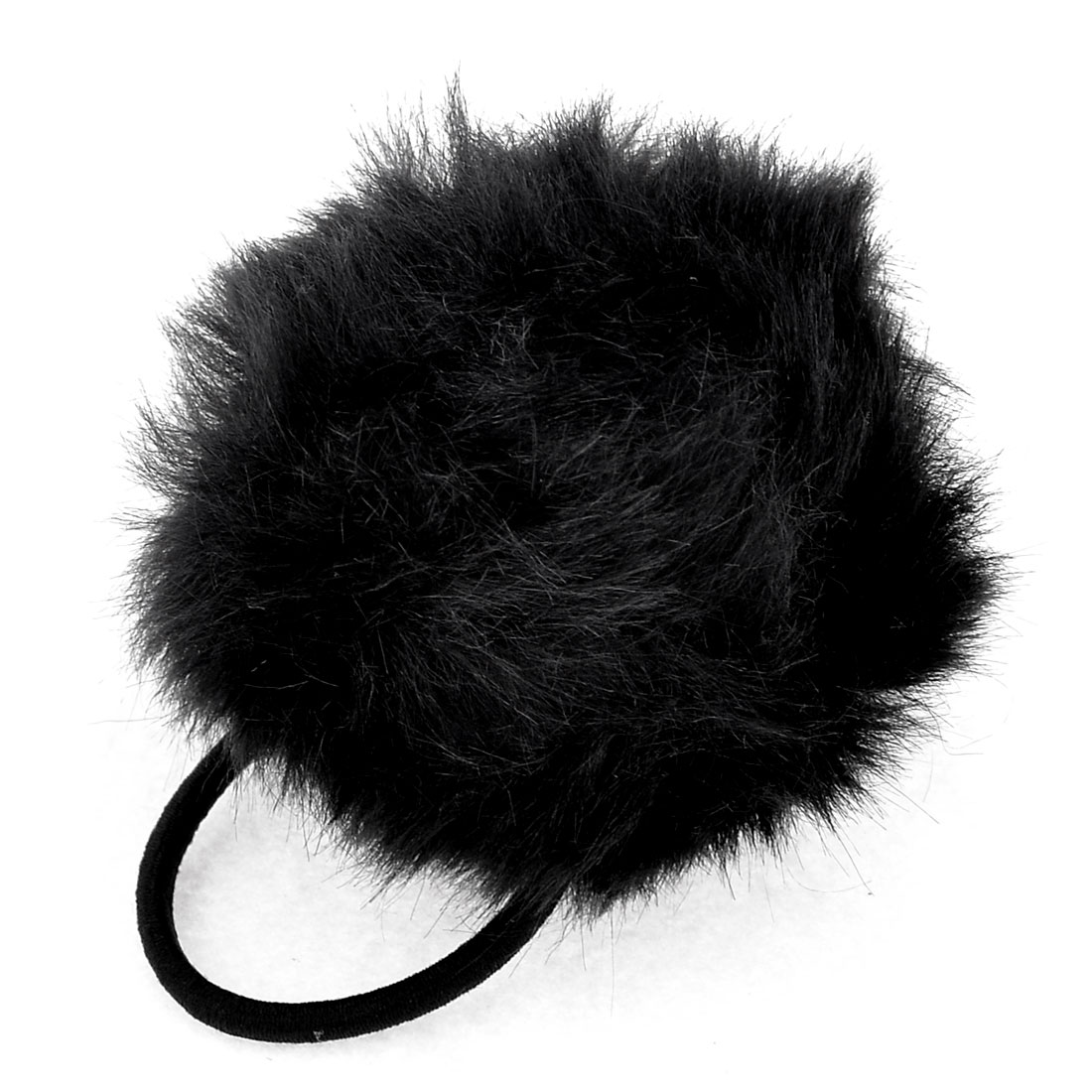 Black Stretchy Band Plush Ball Detail Hair Tie Ponytail Holder for Lady