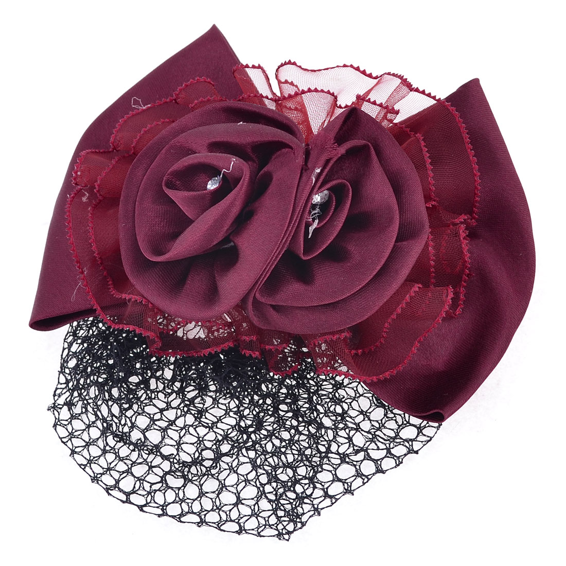 Bowknot Floral Decor Barrette French Metal Hair Clip Burgundy w Net Snood