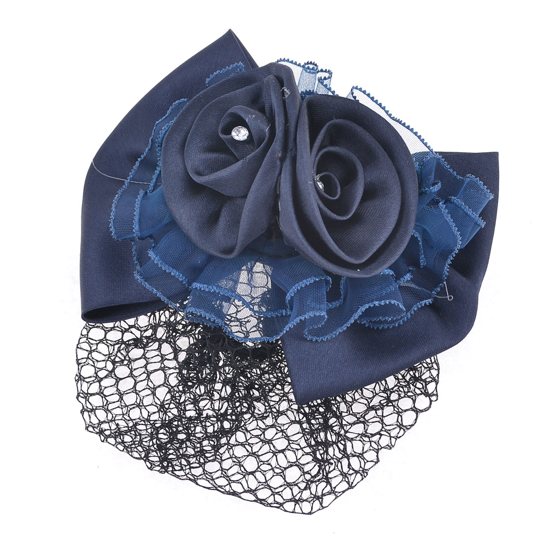 Bowknot Decor Barrette French Metal Hair Clip Blue w Net Snood