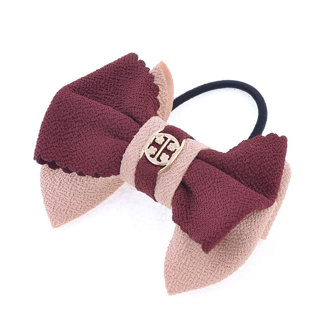 Pale Pink Burgundy Fabric Bowtie Decor Hair Tie Ponytail Holder for Lady