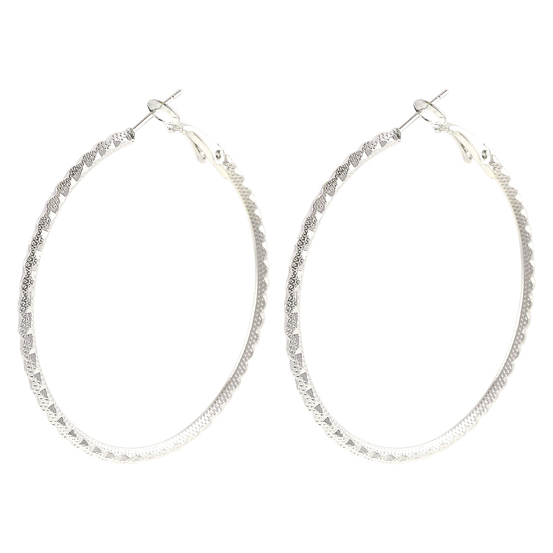 Woman Textured Metal Spring Hoop Earrings Silver Tone Pair