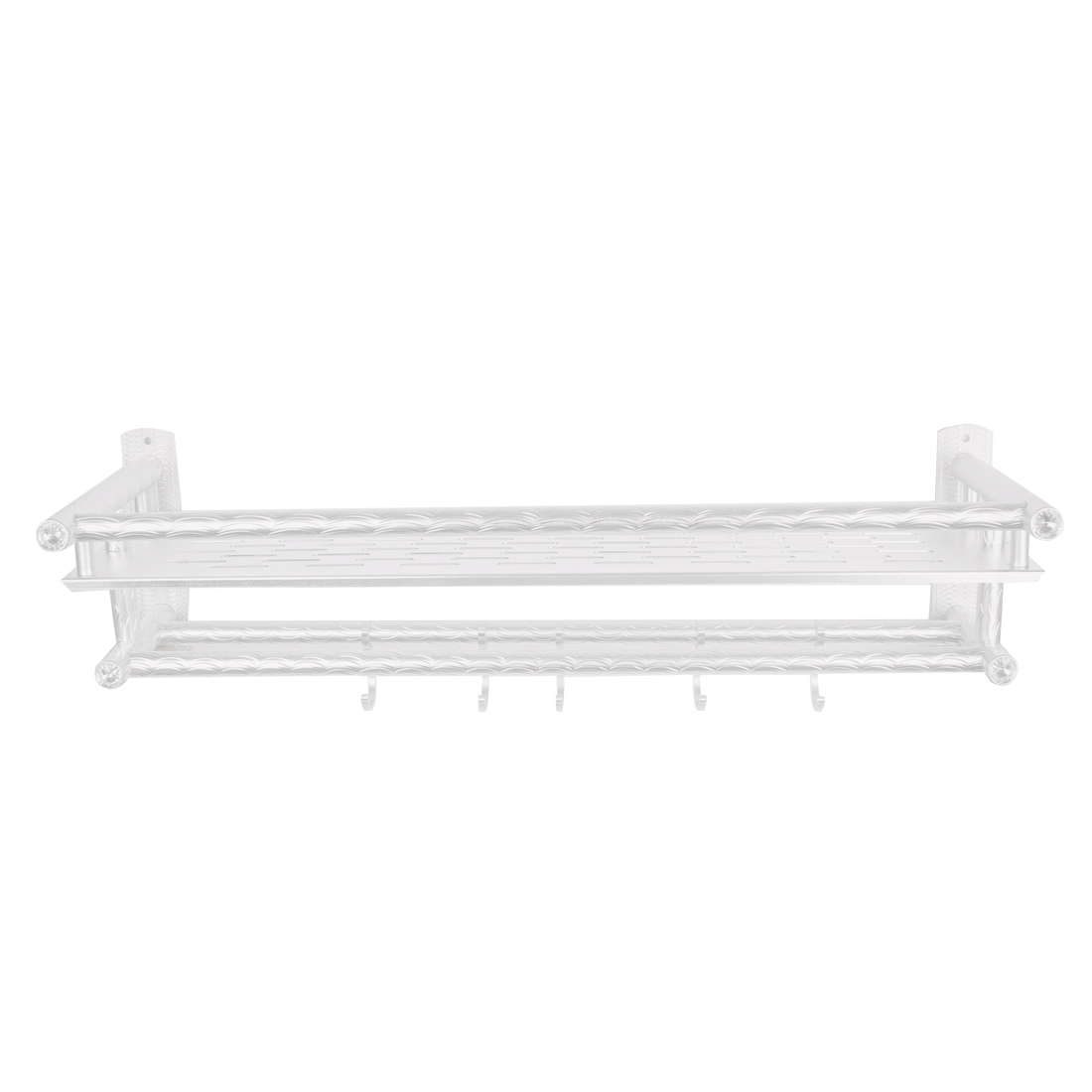 Rhinestone Decor Hollow Out Design Aluminum 5 Hooks 2 Layers Towel Shelf