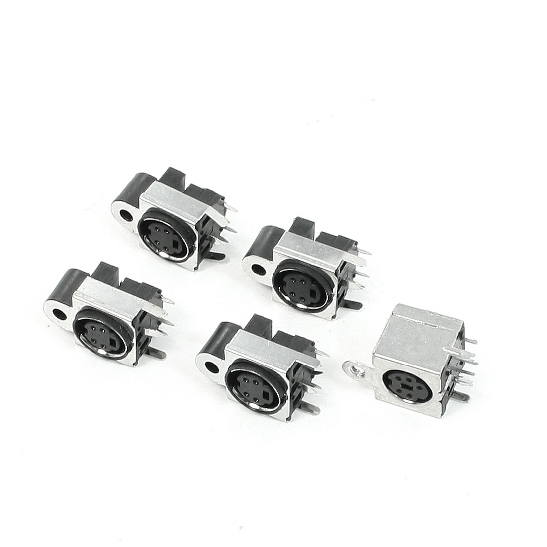 Metallic Housing PCB Mounting DIN 4 Pin Female S-video Adapter Sockets 5 Pcs