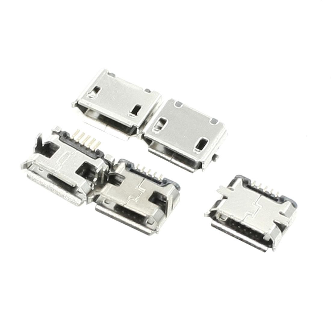 Computer Metal Micro USB Type B Female Connector 5 Pin SMT PCB Mount Port 5 Pcs
