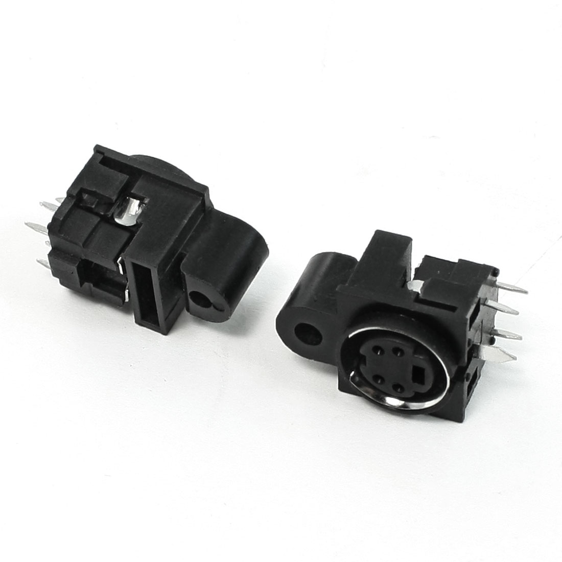 Vertical PCB Mount DIN 4 Pin Female S-video Connector Head Adapter Sockets 2 Pcs