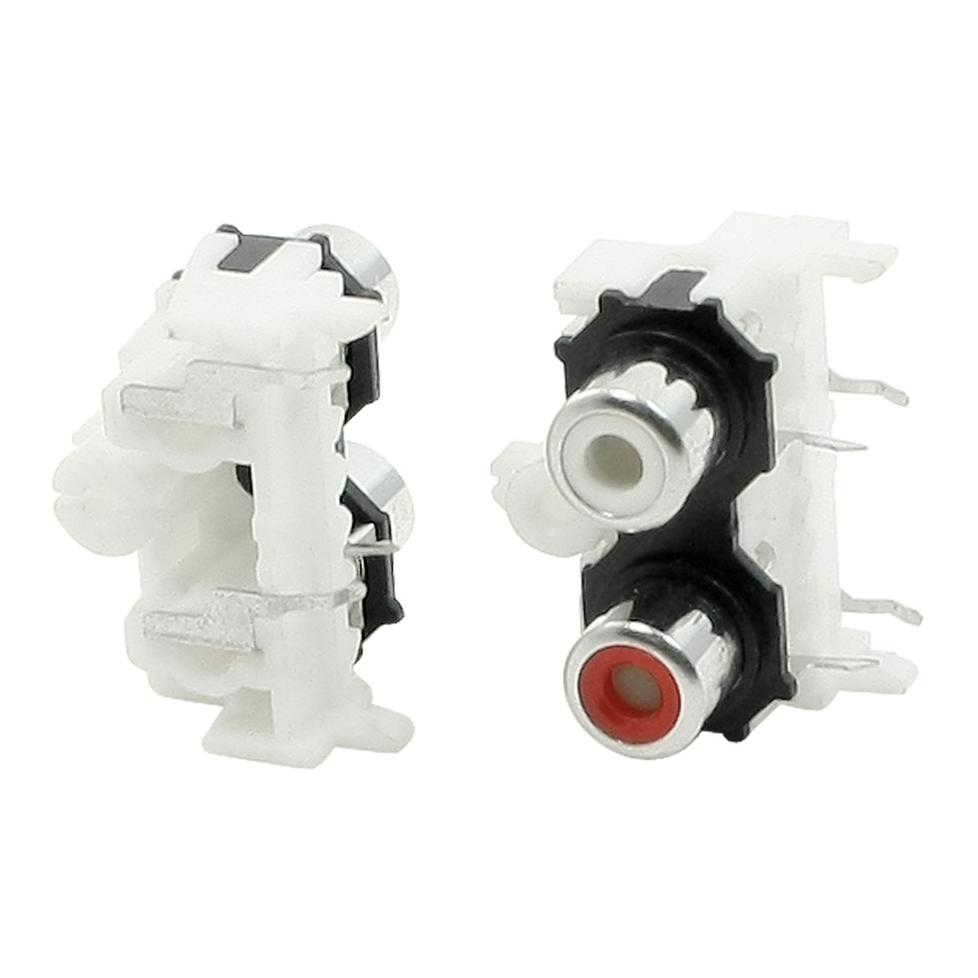 2 Pcs White Red Dual Port Audio Video RCA Jack Female PCB Connector