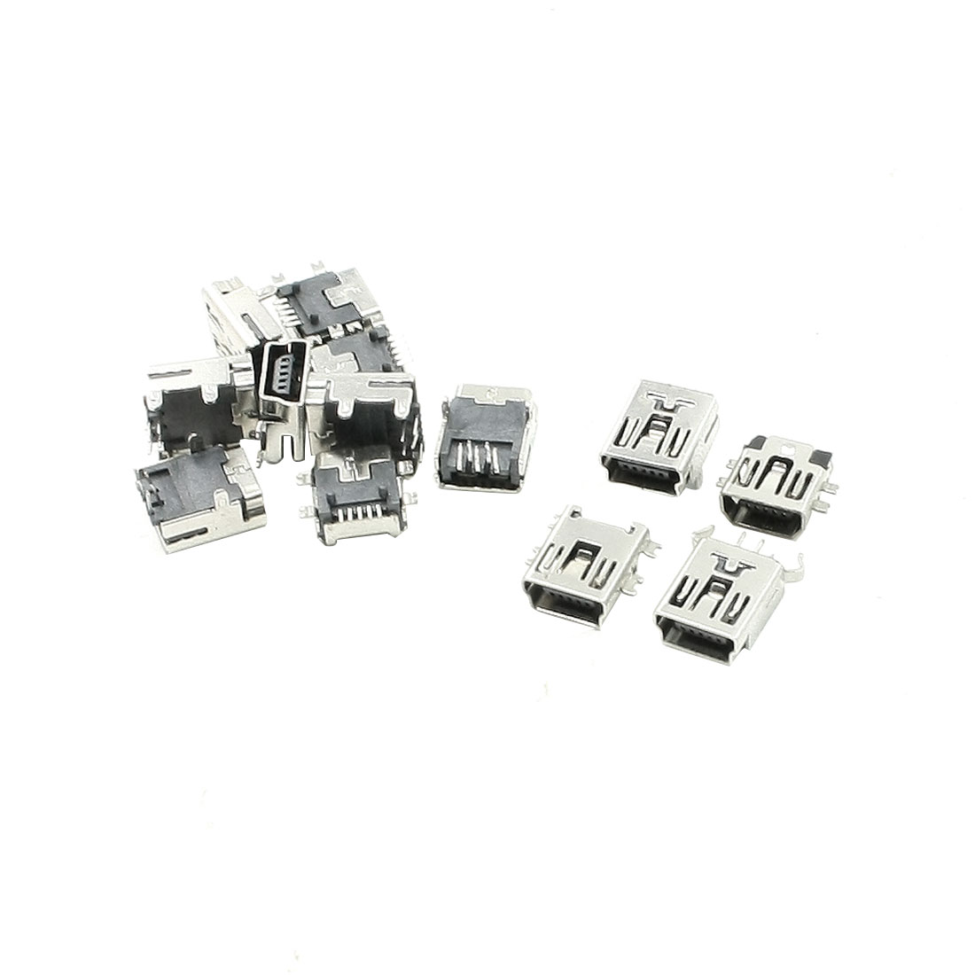Multi Mounting Types Mini B USB 5 Pin Female Connectors Jacks Ports 13 Pcs