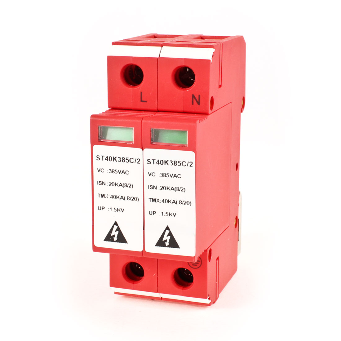 AC 385V 2P Din Rail Power Surge Protection Lightning Arrester Red