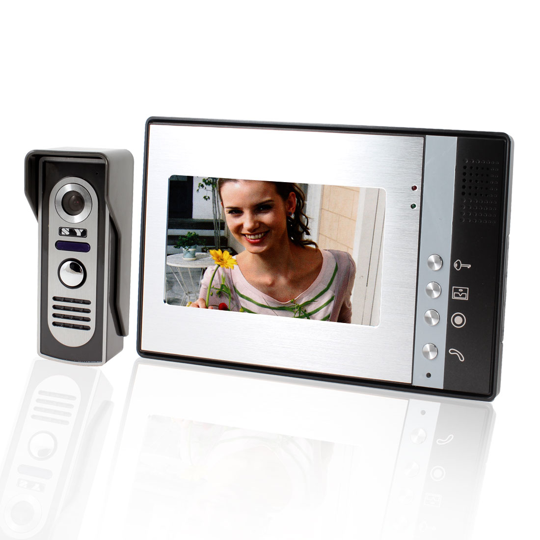 "US Plug 7"" TFT LCD Indoor Unit Infrared Outdoor Unit Intercom Video Door Phone Monitor"