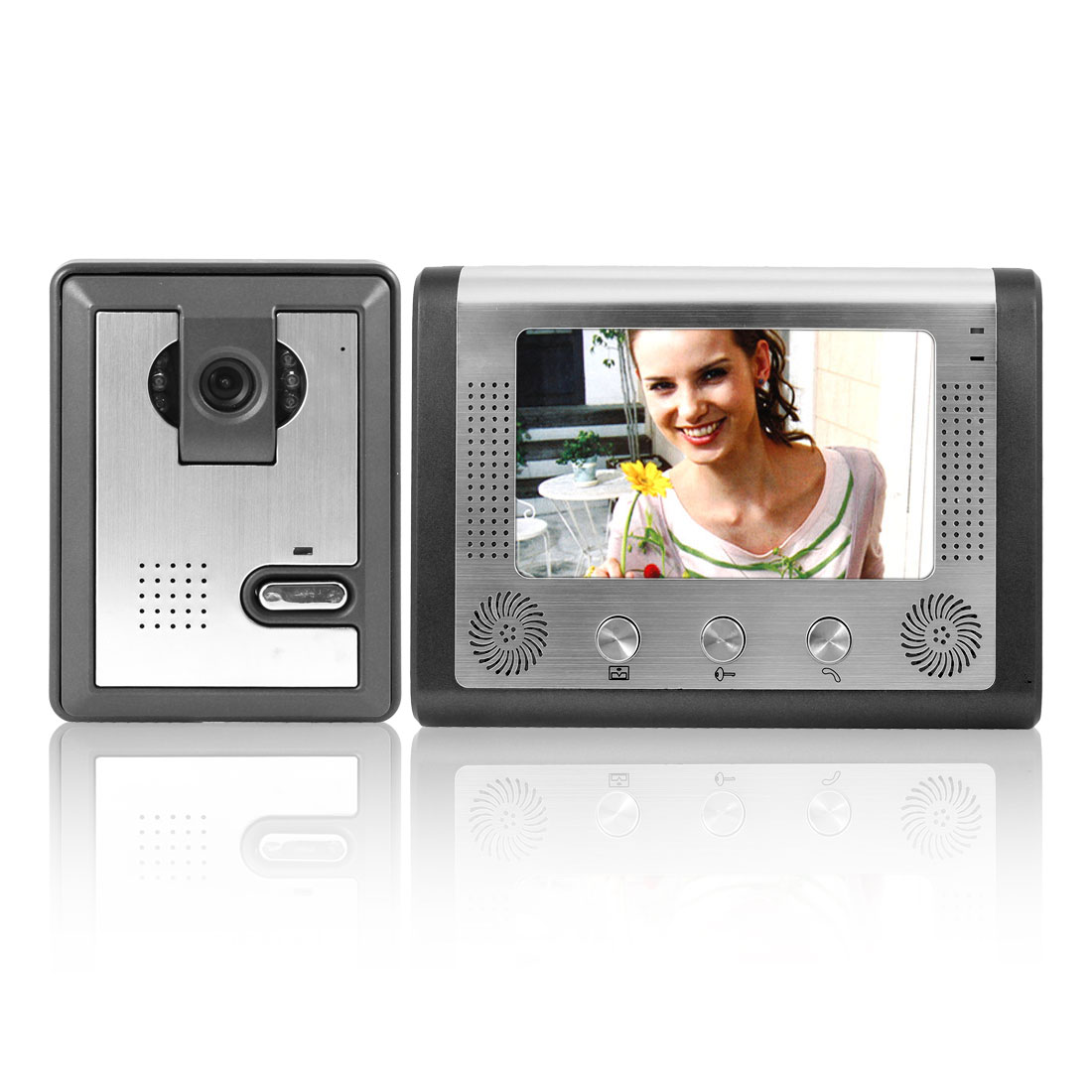 "US Plug 7"" TFT LCD Screen Infrared Handsfree Intercom Video Door Phone Camera"