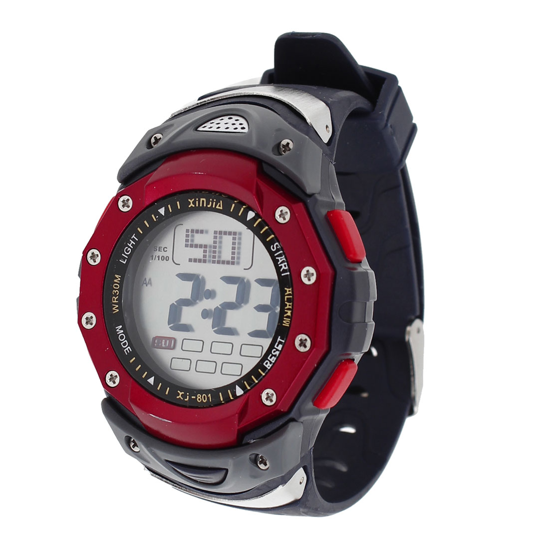 Kids Plastic Digital Wrist Watchband Sports Alarm Watch Burgundy Red