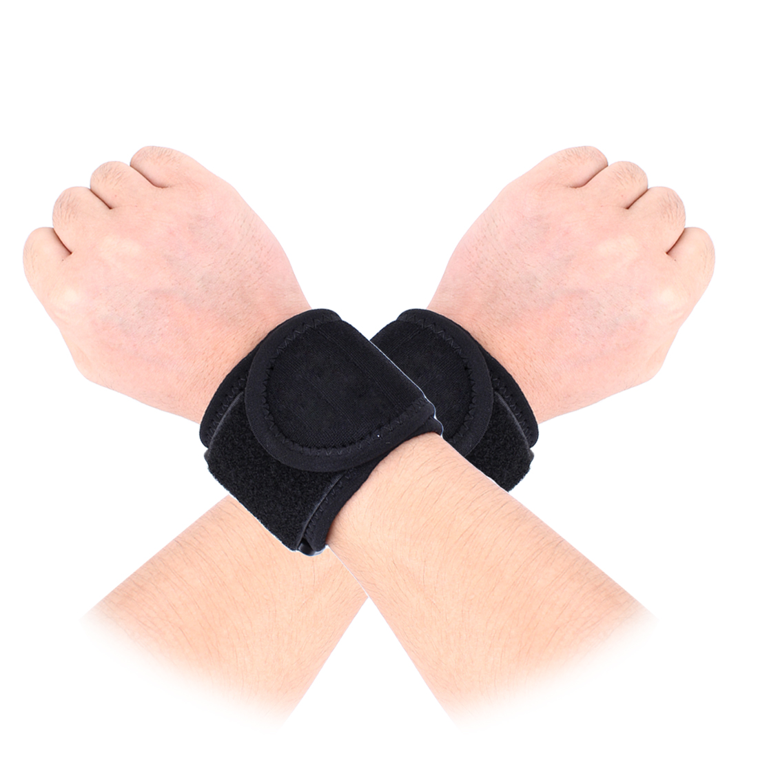 Black Hoop Loop Fastener Sports Protecting Wrist Support for Man