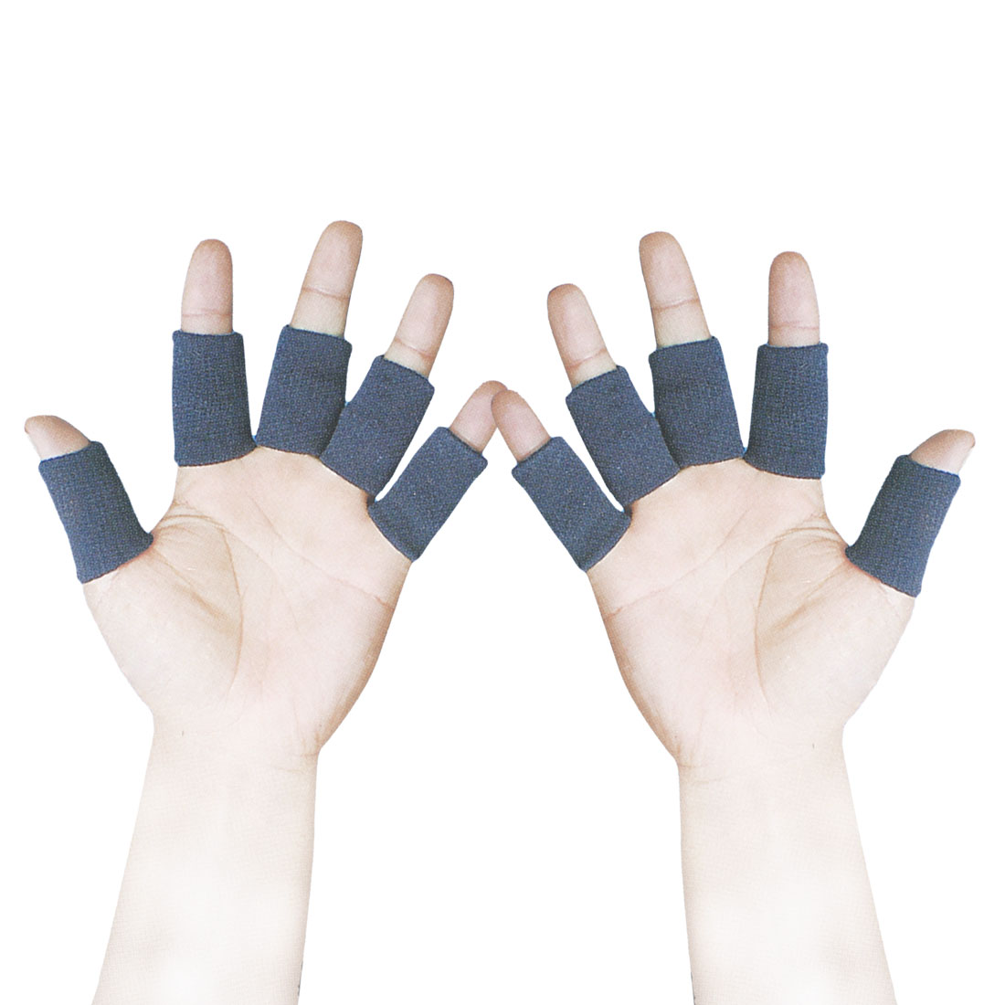 10 Pcs Dark Blue Elastic Knitted Sports Finger Sleeve Cover Wrap