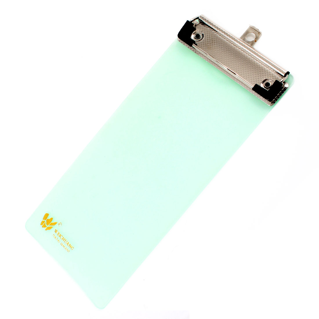 Silver Tone Metal Clip Clear Pale Green Plastic Clipboard Paper Folder
