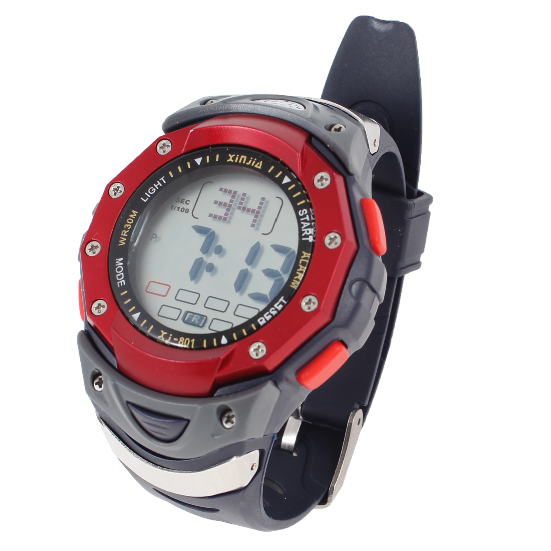 Man Adjustable Band Coldlight LCD Display Stopwatch Sports Watch Red Navy Blue