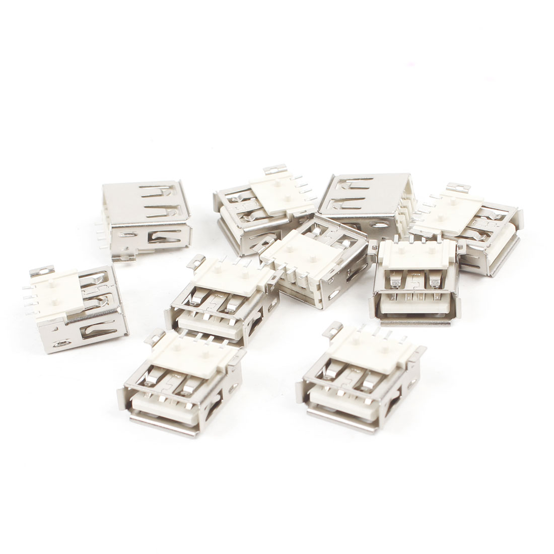 10 Pcs USB 2.0 Type A Female Socket DIY SMT Connector Silver Tone Off White