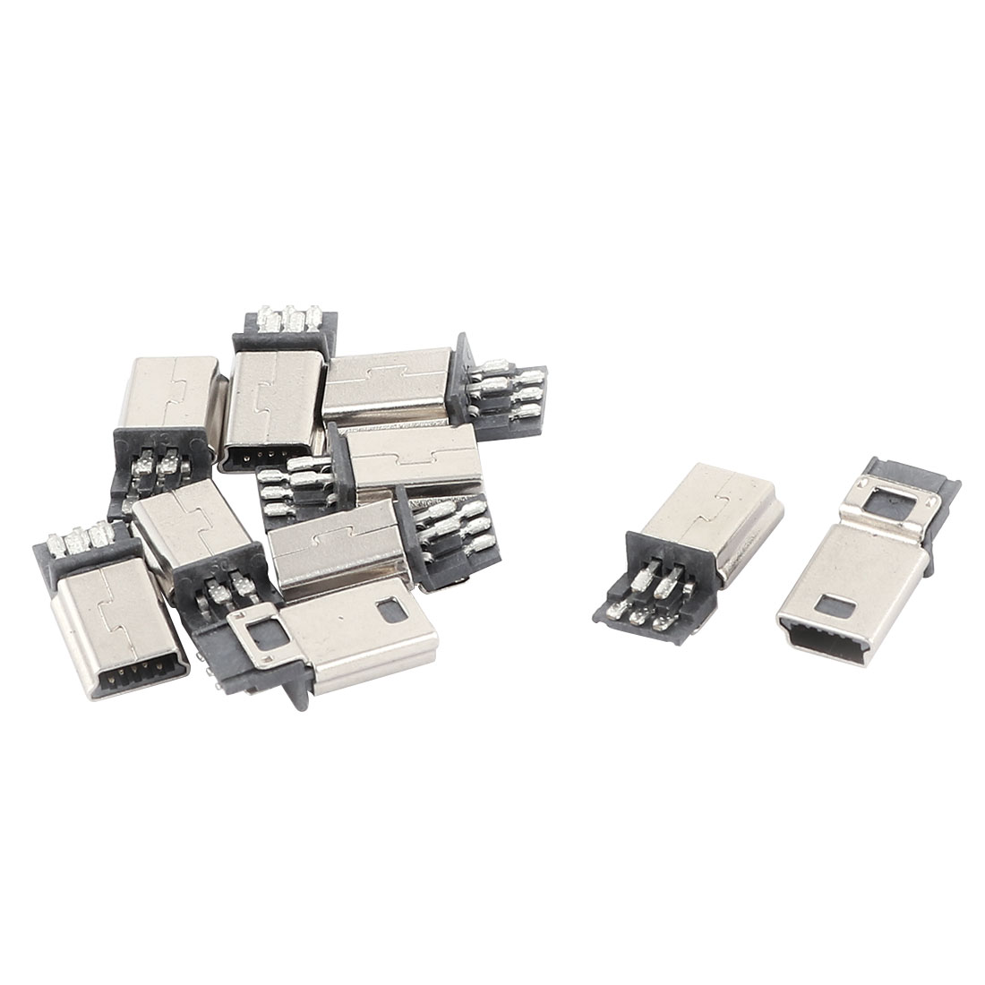 10 Pcs Mini USB 5 Pin Male DIY SMT Connector Silver Tone Dark Gray