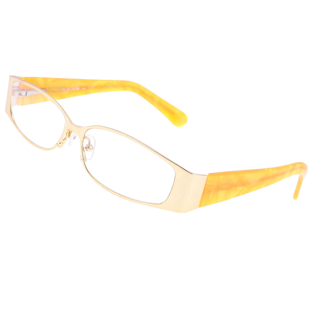 Metal Full Rim Rubber Nose Pads Plano Spectacles Yellow for Man