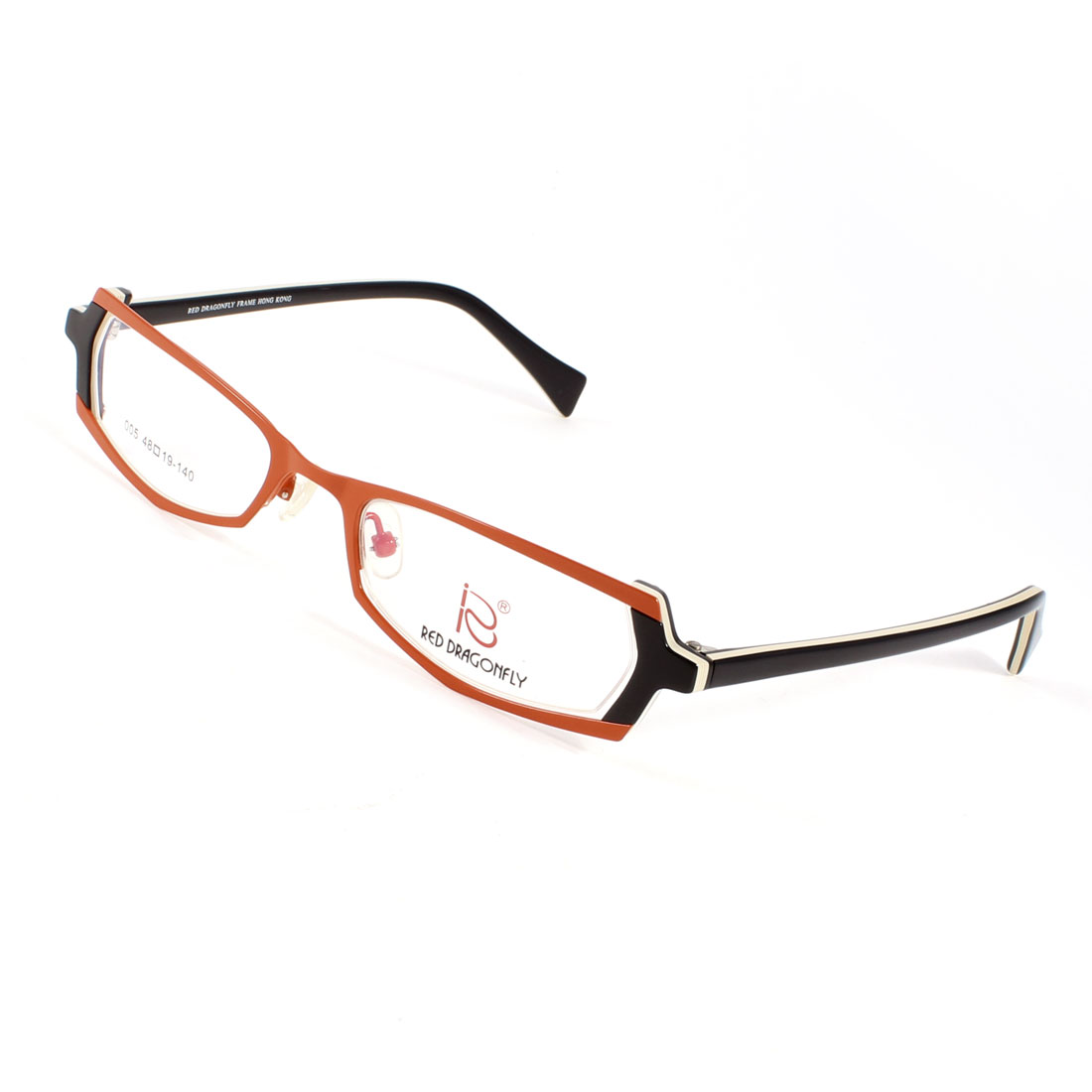 Woman Plastic Rectangle Rim Black Arm Nose Pads MC Lens Plano Glasses Orange