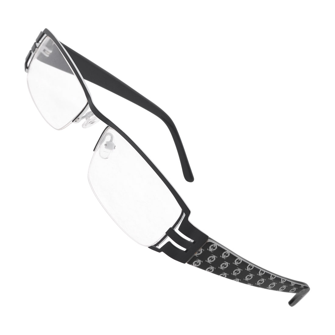 Black Metal Half Rim Rubber Nose Pads Plano Spectacles for Men