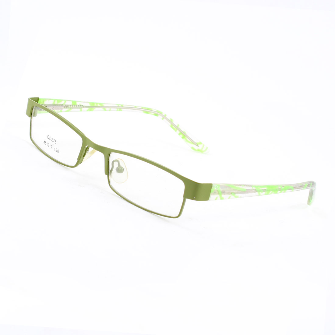 Lady Women Green Plastic Full Rim Clear Lens Plain Glasses Decoration
