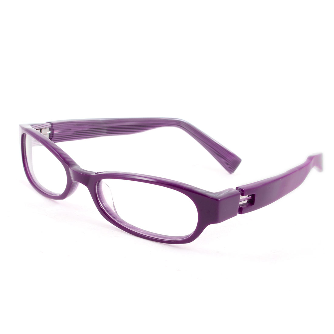 Ladies Woman Plastic Single Bridge Clear Lens Plano Glasses Purple