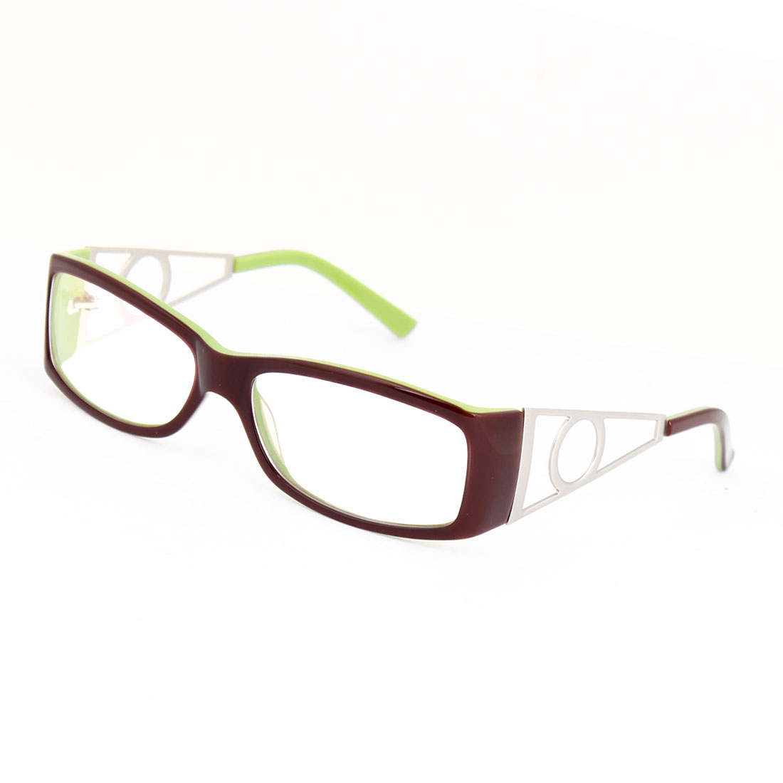 Burgundy Green Plastic Rectangle MC Lens Plano Glasses for Ladies
