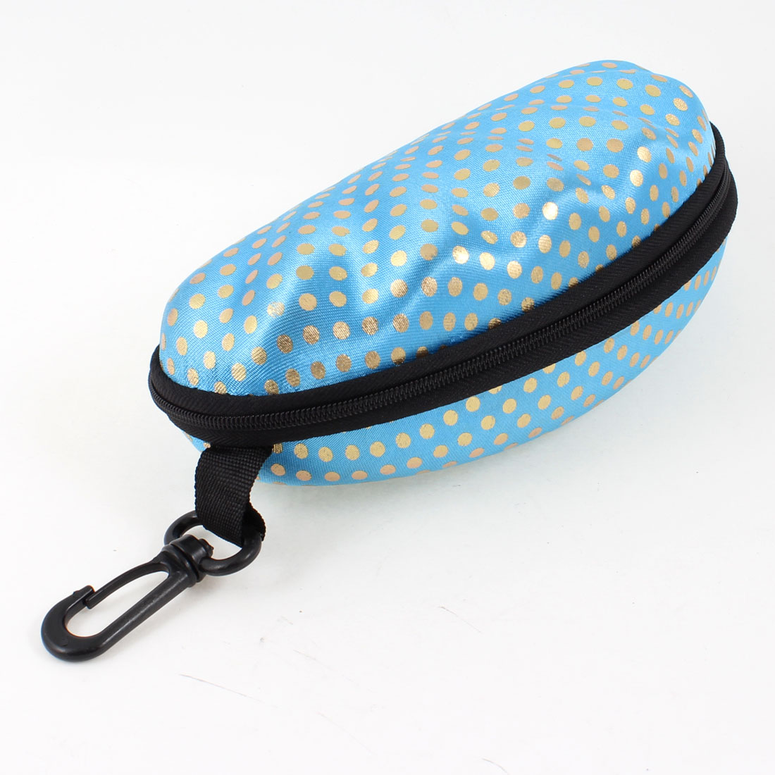 Gold Tone Dot Pattern Zippered Fleece Lining Light Blue Sunglasses Case w Hook