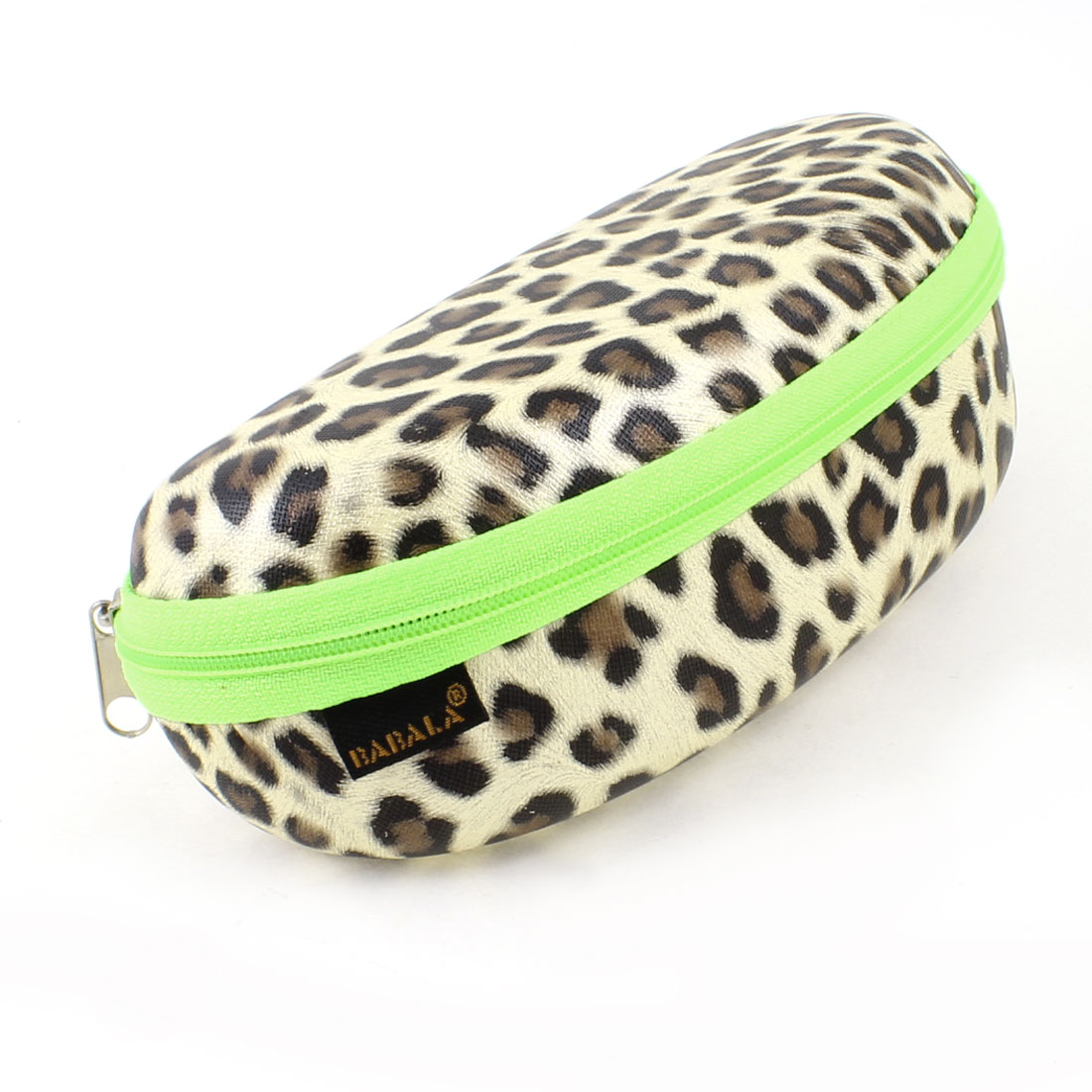 "Leopard Print Flannel Lining Zippered Beige Sunglasses Box Case 2.6"" High"