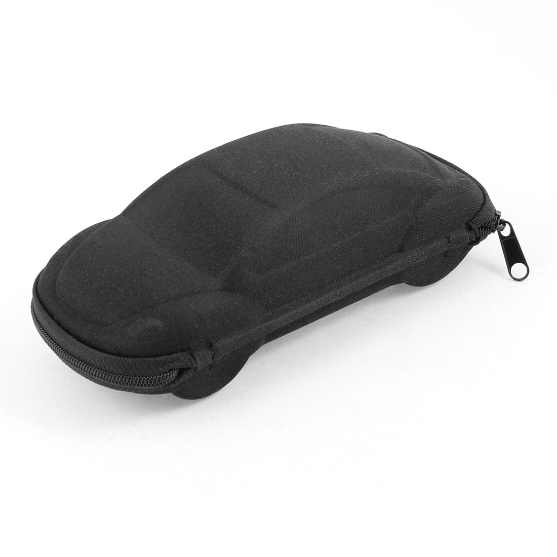 "Black Nylon Foam Car Shape Zipper Closure Sunglasses Box Holder 6.7"" Long"