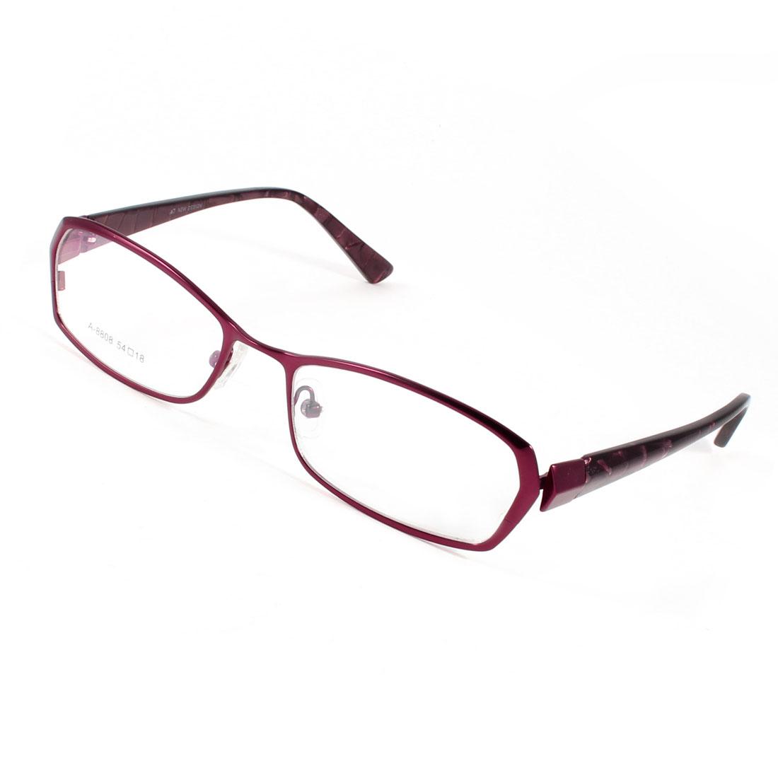 Unisex Plastic Rectangle Rim Burgundy Arm Nose Pads MC Lenses Plano Glasses