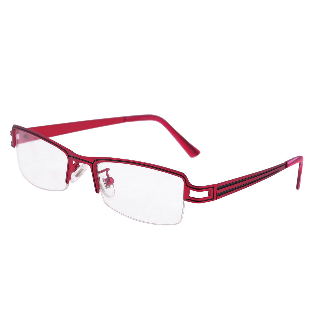 Woman Burgundy Plastic Arms Clear Lens Rubber Nose Pads Plano Glasses