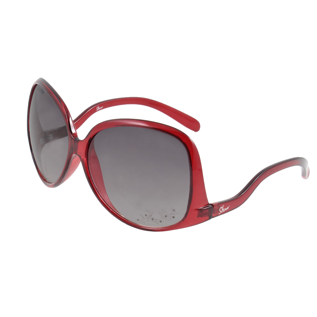 Lady Burgundy Full Frame Waterdrop Shape Lens Leisure Sunglasses Eyewear