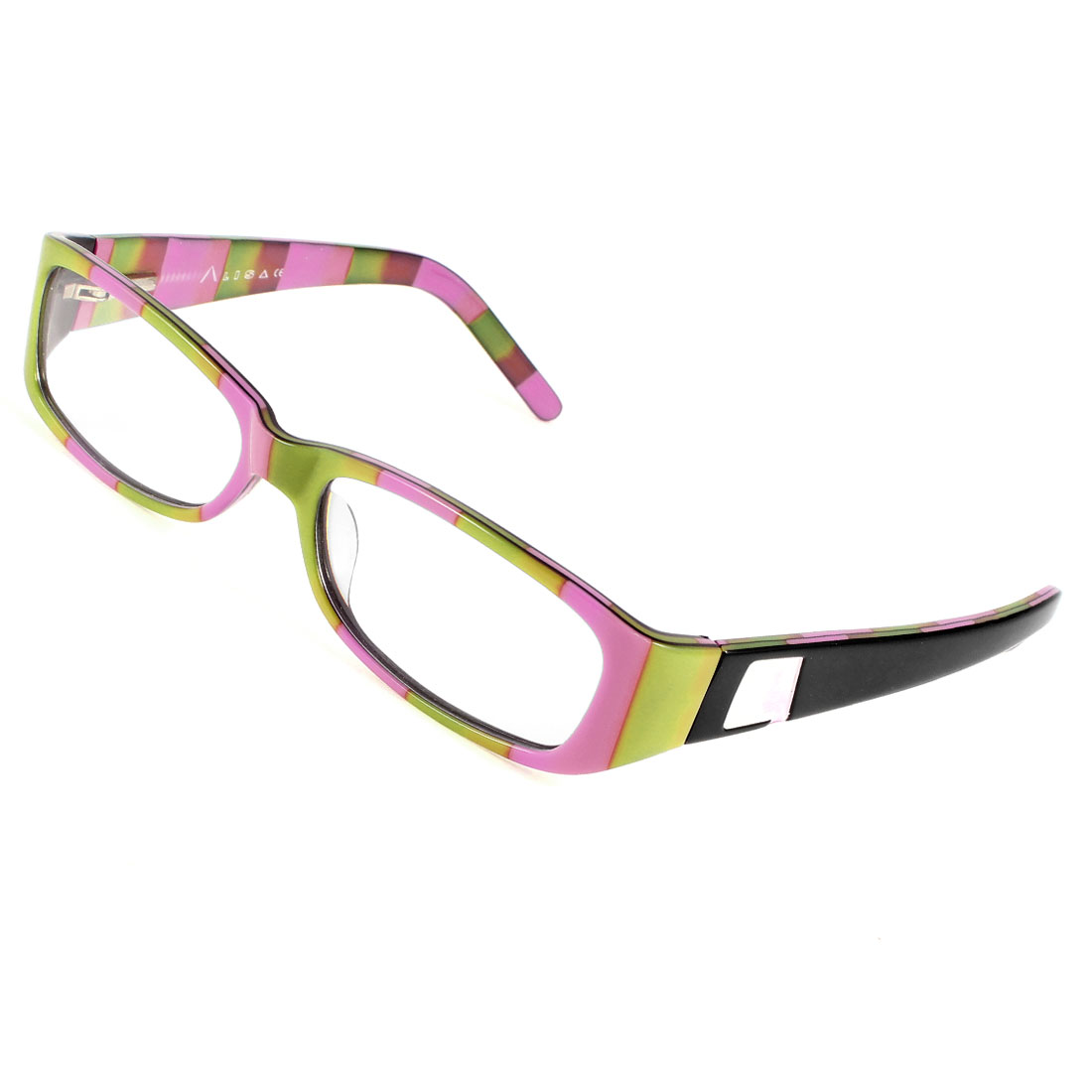 Black Plastic Arms Pink Green Frame Clear Lens Leisure Plain Glasses for Unisex