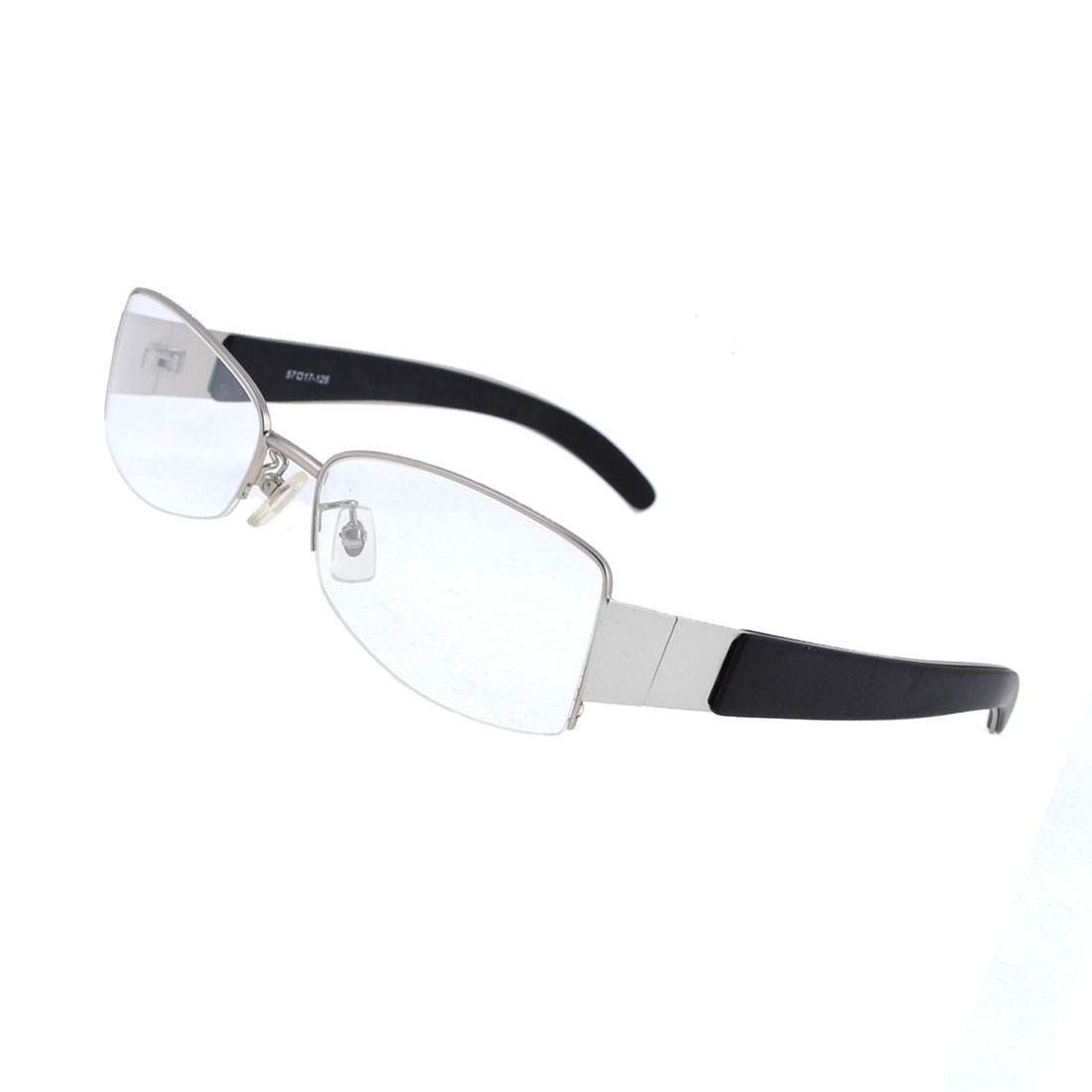 Man Black Plastic Arms Metal Half Rim Clear Lens Plain Glasses