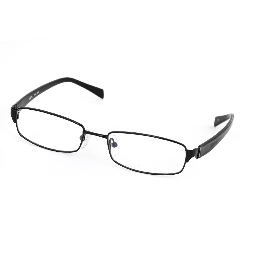 Unisex Plastic Rectangle Rim Black Arm Nose Pads MC Lens Plano Glasses