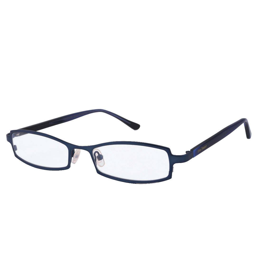 Rectangle Lens Single Bridge Plain Glasses Eyeglasses Dark Blue for Lady Man