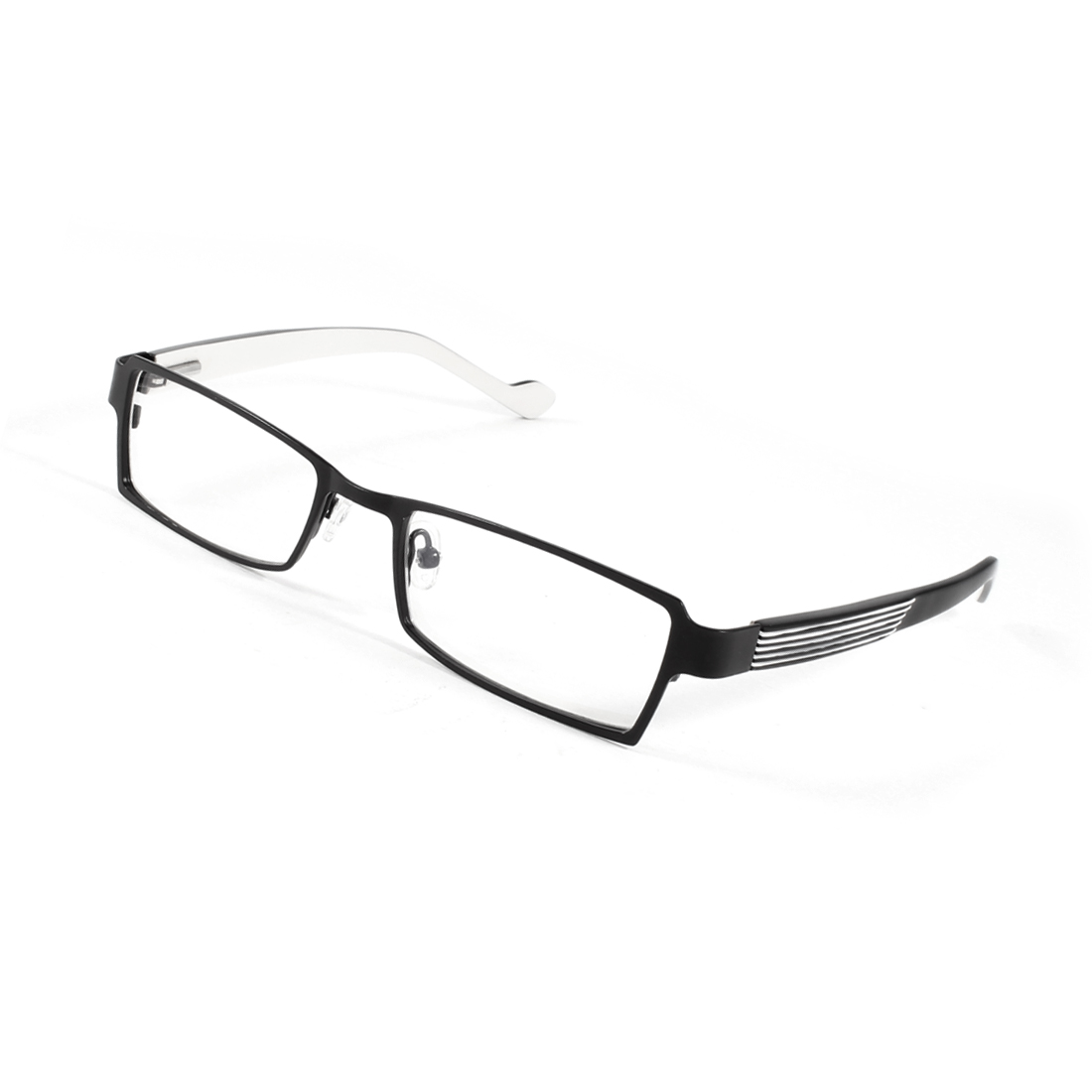 Unisex Black Full Rim Black Arms Rubber Nose Pad MC Clear Lens Plain Eyeware
