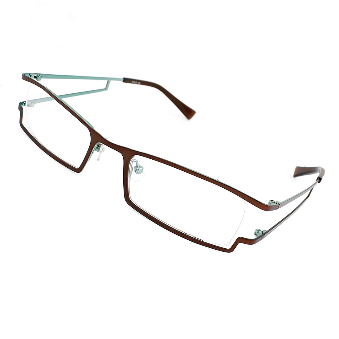 Unisex Plastic Rectangle Rim Coffee Color Arm Nose Pads Clear Lens MC Plano Glasses