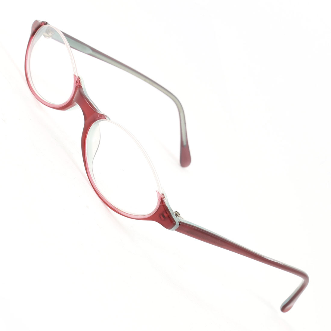Burgundy Plastic Half Frame Oval Clear Lens Plain Glasses for Lady