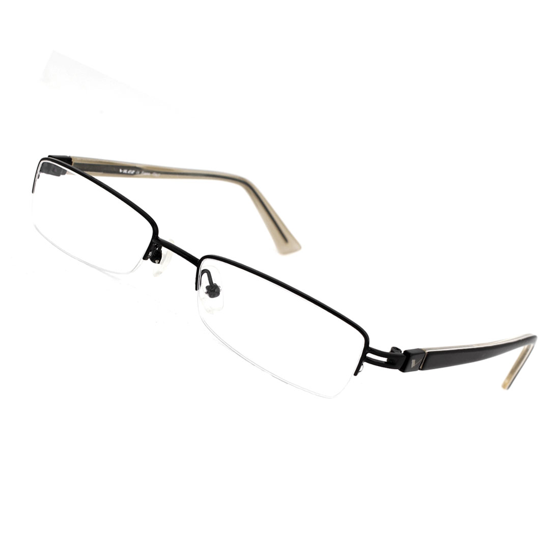 Man Women Black Plastic Arms Half Rim Multi Coated Lens Plain Glasses
