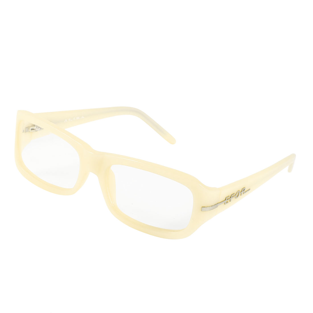 Off White Plastic Rectangle MC Lens Plano Glasses for Lady Woman