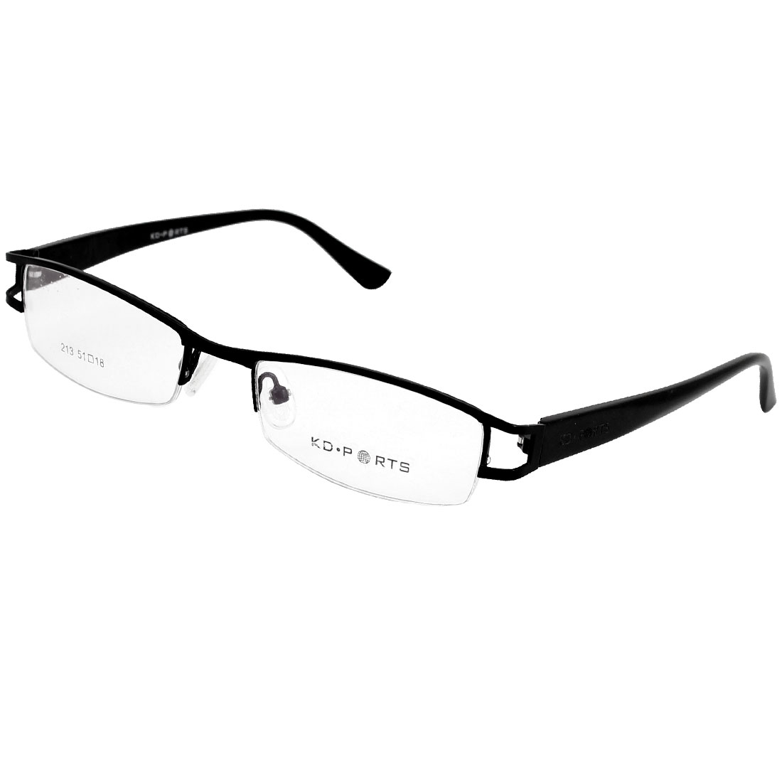 Black Plastic Arms Multi Coated Clear Lens Rubber Nose Pads Plano Glasses