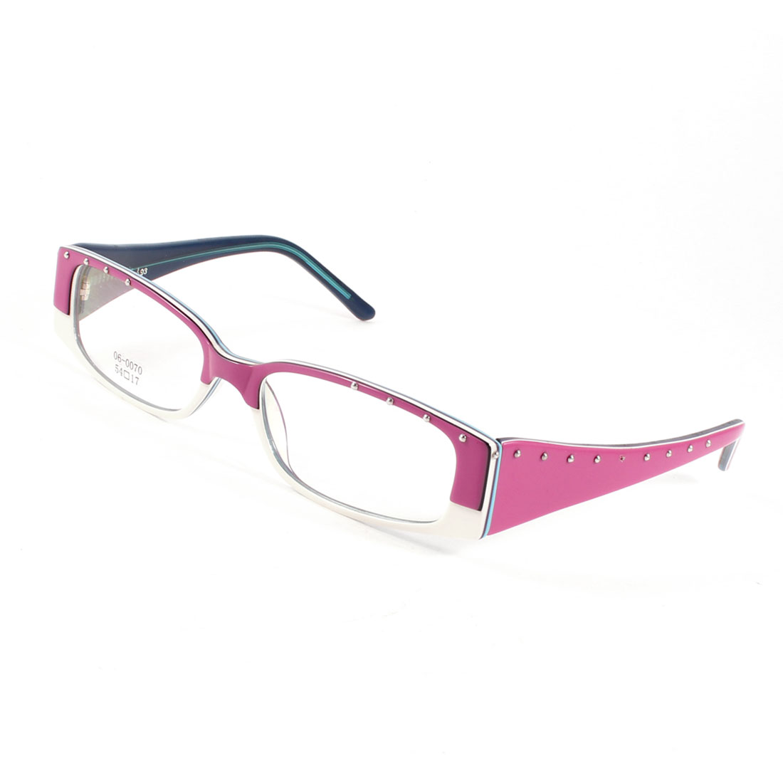 Plastic Arms MC Lens Spectacles Plano Glasses Pink White for Lady Women