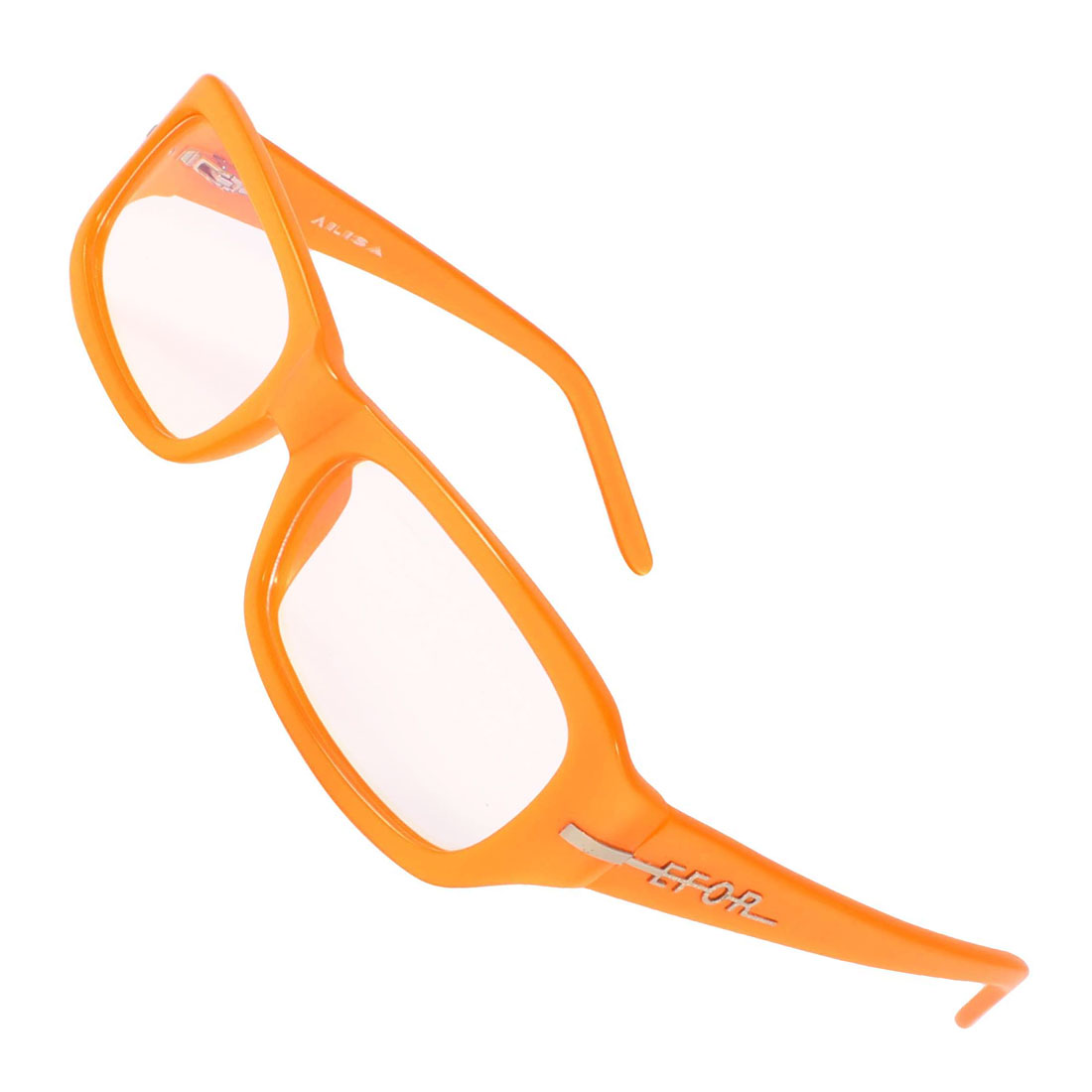 Orange Plastic Rectangle MC Lens Plano Glasses for Ladies