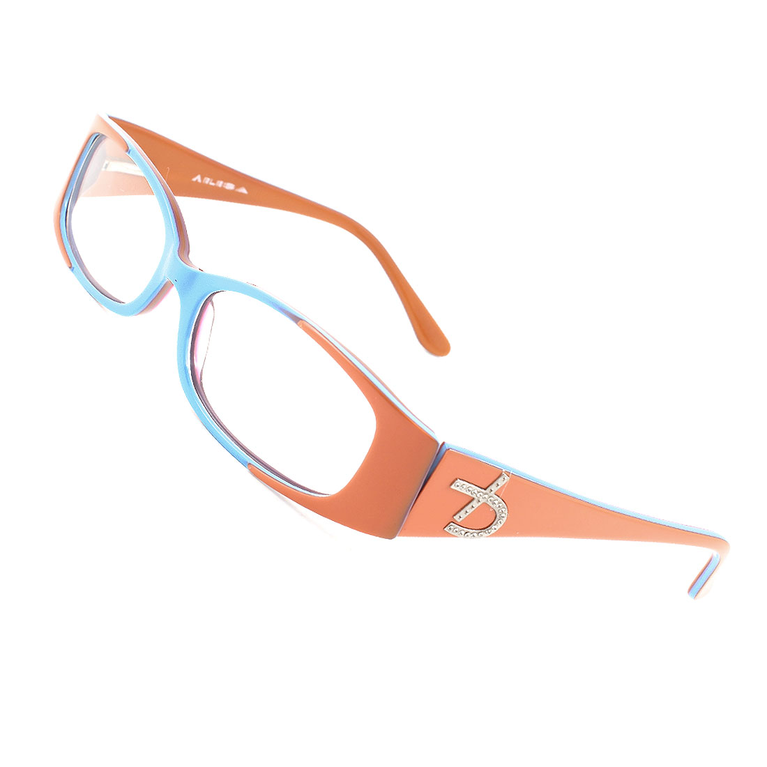 Plastic Single Bridge Clear Lens Plano Glasses Blue Orange for Ladies Woman